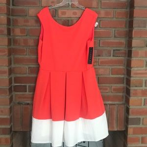 Tiana B. A line coral white dress pleated 18 NWT